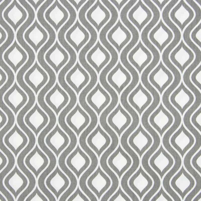 Tecido Tricoline Estampado - Ondas Cinza - 50cm X150cm