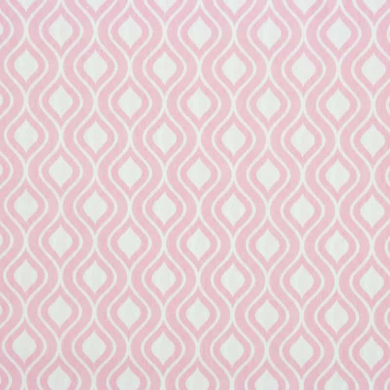 Tecido Tricoline Estampado - Ondas Rosa - 50cm X150cm