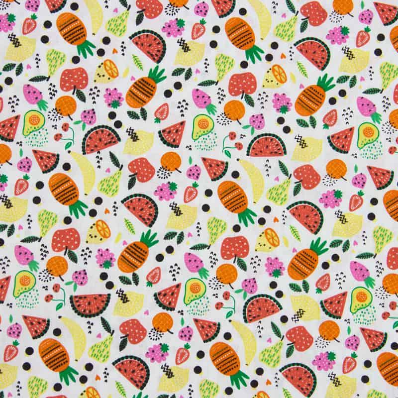 Tecido Tricoline Estampado - Salada de Frutas - 50cm X150cm