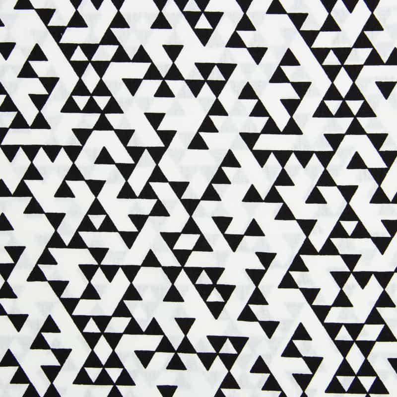 Tecido Tricoline Estampado - Triângulos Preto e Branco - 50cm X150cm