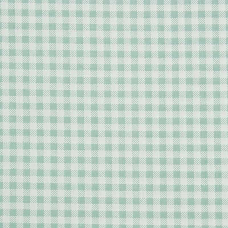 Tecido Tricoline Estampado - Xadrez Verde Água - 50cm X150cm