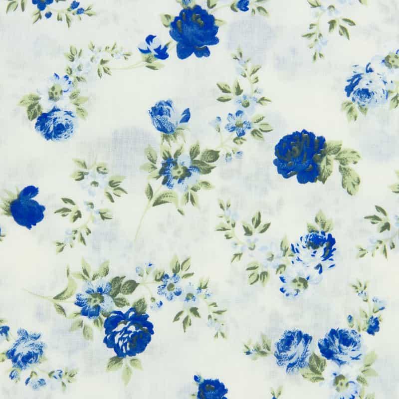 Tecido Tricoline Floral - Rosa Azul - 50cm X150cm