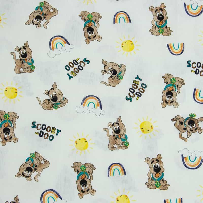 Tecido Tricoline Licenciado Warner Bross Estampado - ScoobyDoo Color Off White - 50cm X150cm