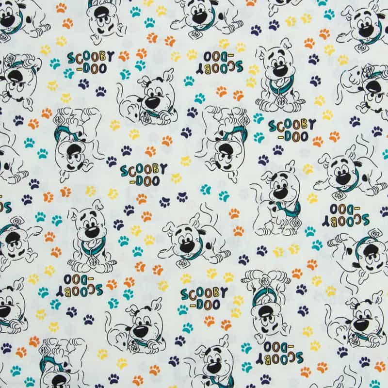 Tecido Tricoline Licenciado Warner Bross Estampado - ScoobyDoo Contorno Off White - 50cm X150cm
