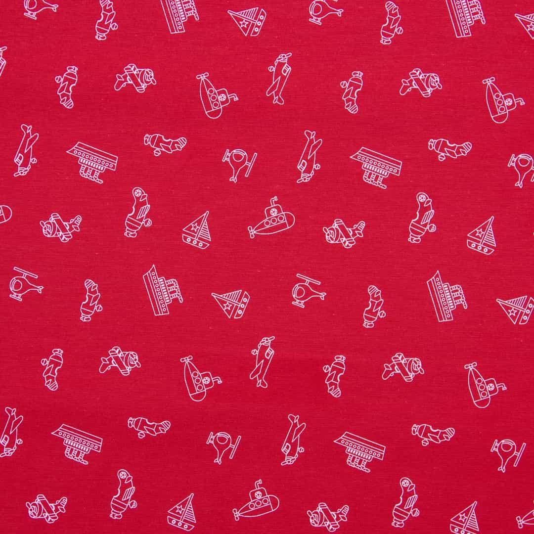 Tecido Tricoline Misto Estampado - Brinquedos Vermelho - 50cm X150cm