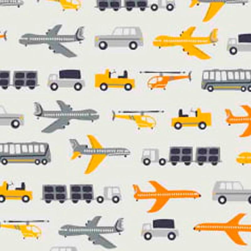 Teksana Coleção Transportes - Estampa Terrestres e Aéreos - 50cm x 150cm
