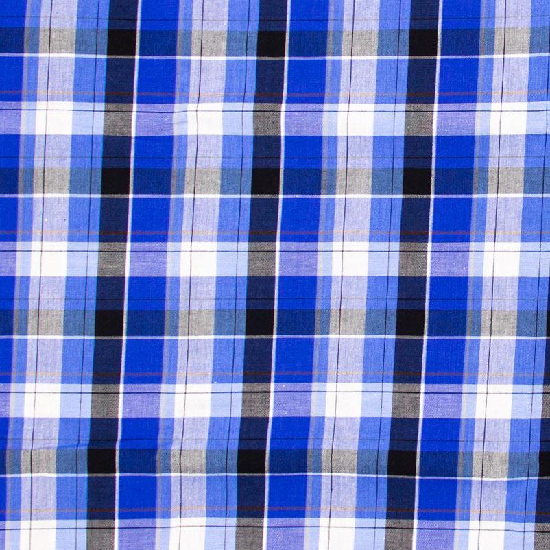 Telanipo - Fio Tinto Xadrez Azul/Preto - 50cm x 150cm