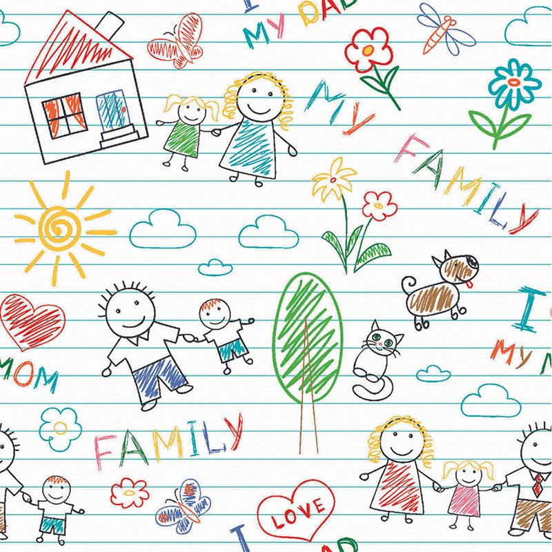 Tricoline Fabricart - Coleção My Family - Estampa My Family - 50cm x 150cm
