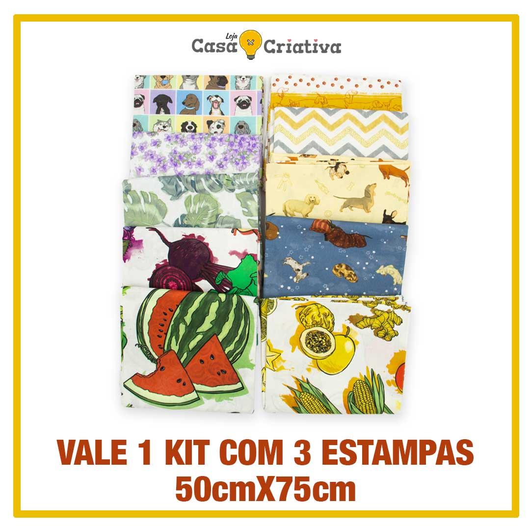 VALE 1 KIT TECIDO CASA CRIATIVA - 50cm X75cm