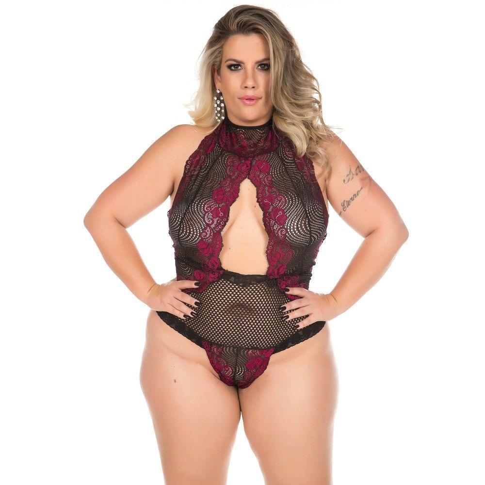 Body Plus Size Sensual Luxúria Preto com Vermelho