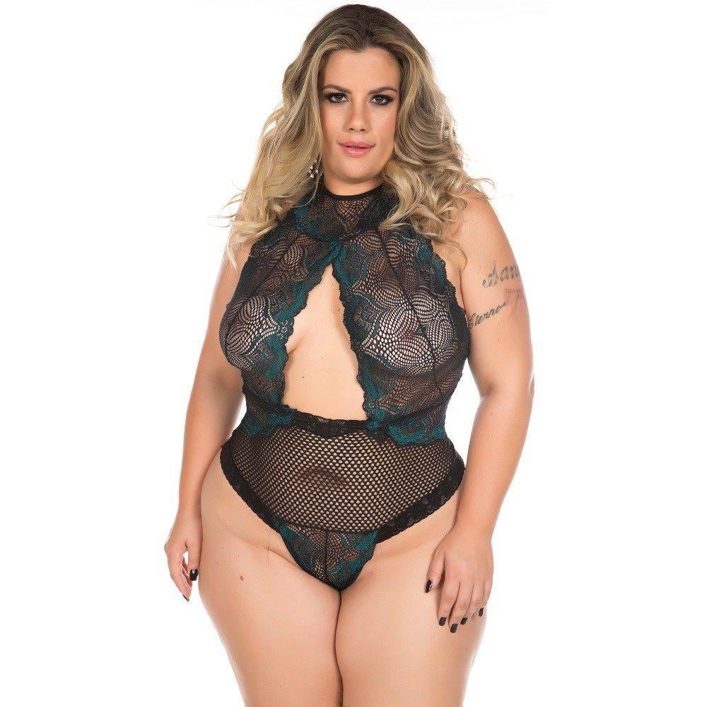 Body Plus Size Sensual Luxúria Preto e Verde – Pimenta