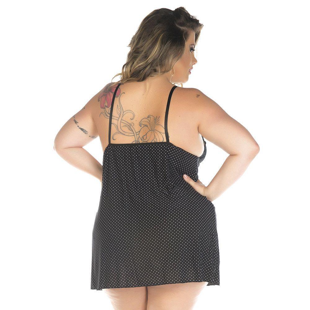 Camisola Plus Size Sensual Doçura - Preta (Veste 46 e 48)