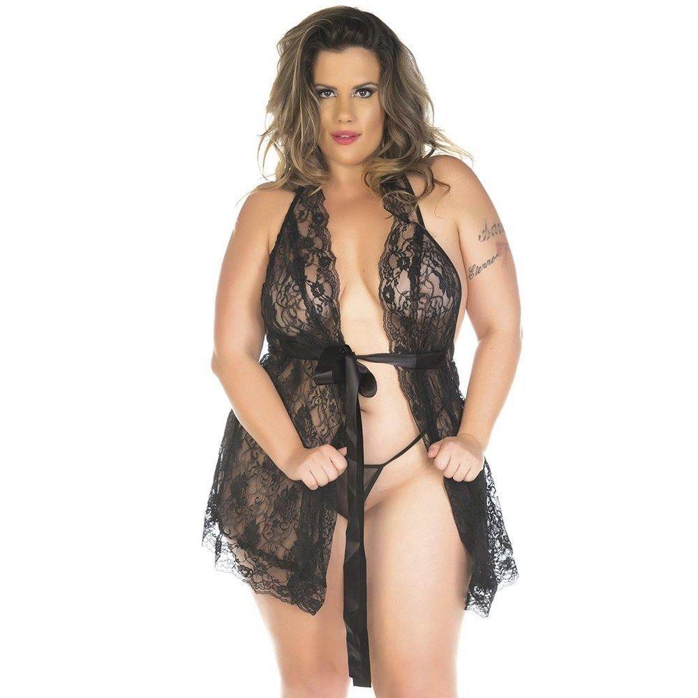 Camisola Plus Size Sensual Luxo (Veste Manequins 46 e 48)