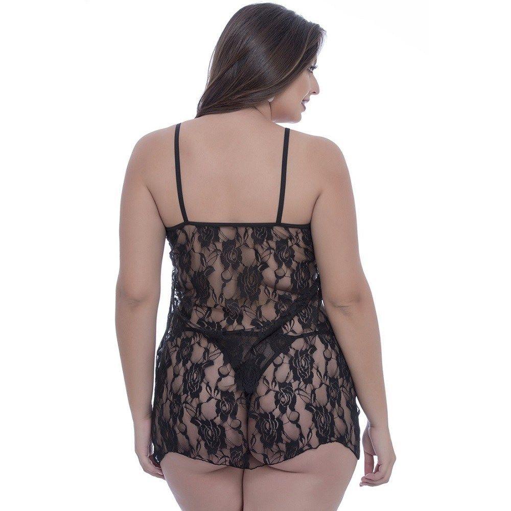 Camisola Plus Size Sensual Toda Rendada (Tamanho 52)