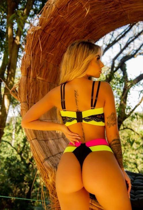 Conjunto Cropped Amarelo Neon Com Calcinha Arco-Íris - Segredo Lacrado