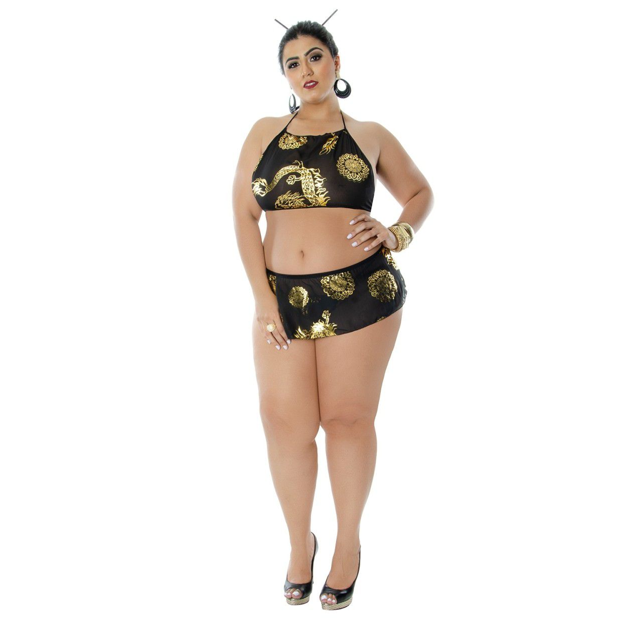 Fantasia Gueixa Karyn Plus Size (Veste Manequins 44 ao 50)
