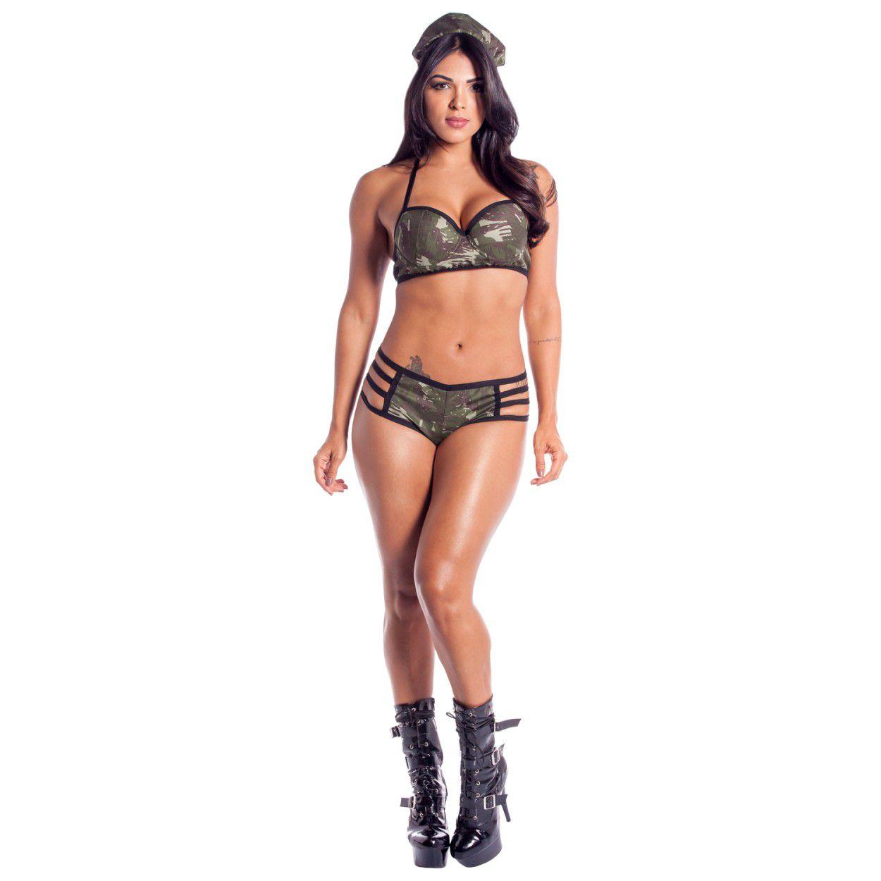 Fantasia Militar Eliane (Tam. Único - Veste Manequins 38 ao 42)