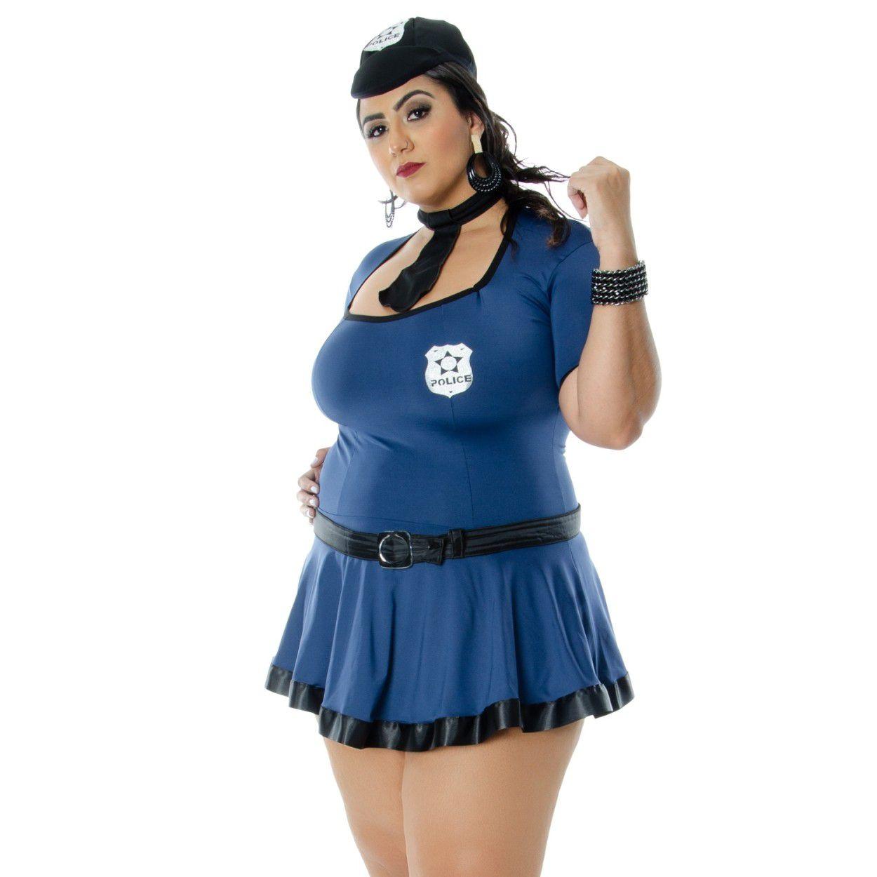 Fantasia Policial Violeta Plus Size (Veste Manequins 44 ao 50)