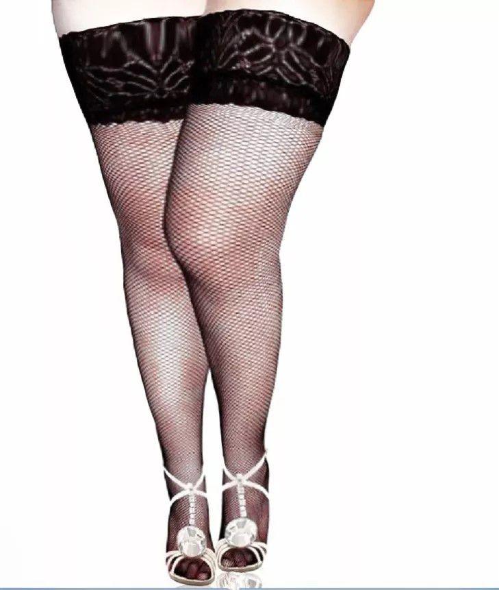 Meia 7/8 Plus Size Arrastão com Renda (Manequins 48 ao 56)