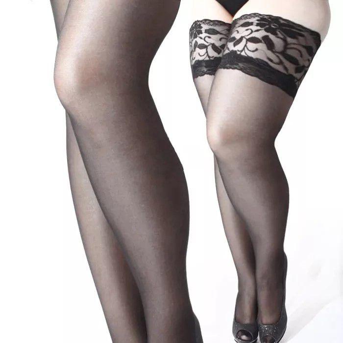 Meia 7/8 Plus Size Lisa com Renda (Manequins 48 ao 56)