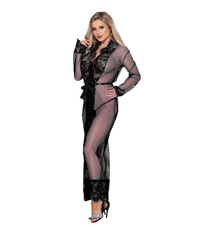 Robe Plus Size Preto Transparente de Mangas Longas (Veste Tamanhos 46 e 48)