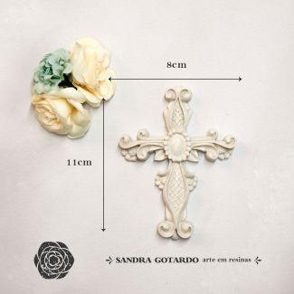 Aplique crucifixo 11x8x1- resina  ES 040