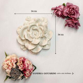 Aplique Flor rosa 9x9x3,5 - resina FO 011