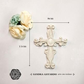 Aplique Resina Aplique crucifixo 11x8x1- resina  ES 040 - Sandra Gotardo