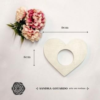Aplique Resina Aplique porta guardanapo coração 8x9x1- resina CZ 015 - Sandra Gotardo