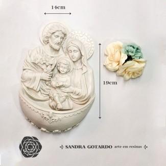 Aplique Resina Aplique sagrada familia GG 19x14x6 resina ES 039 - Sandra Gotardo