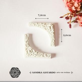 Aplique Resina Arabesco Floral - AF013- Sandra Gotardo