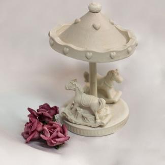Aplique Resina Carrossel 3d de resina com 2 cavalos  - CV007 - Sandra Gotardo