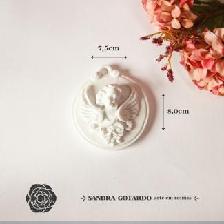Aplique Resina Medalha Anjo - AS030 - Sandra Gotardo