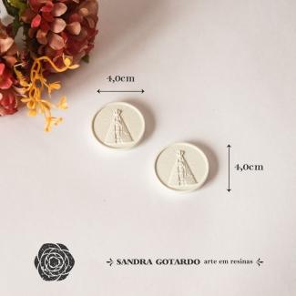 Aplique Resina Medalha Nossa Senhora - ES075 - Sandra Gotardo