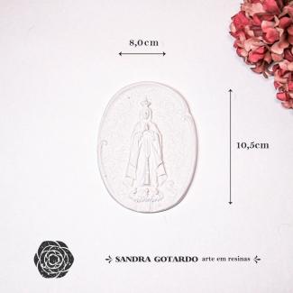 Aplique Resina Medalha Nossa Senhora Fatima-ES059-Sandra Gotardo