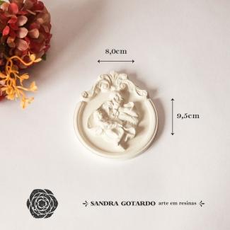 Aplique Resina Medalha Sagrada Familia - ES070 - Sandra Gotardo