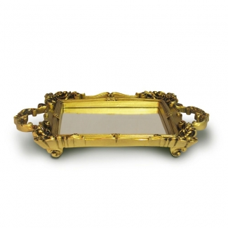 Bandeja Retangular Dourada Resina/espelhada Elizabeth11 - Sandra Gotardo