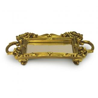 Bandeja Retangular Dourada Resina/espelhada Elizabeth12 - Sandra Gotardo