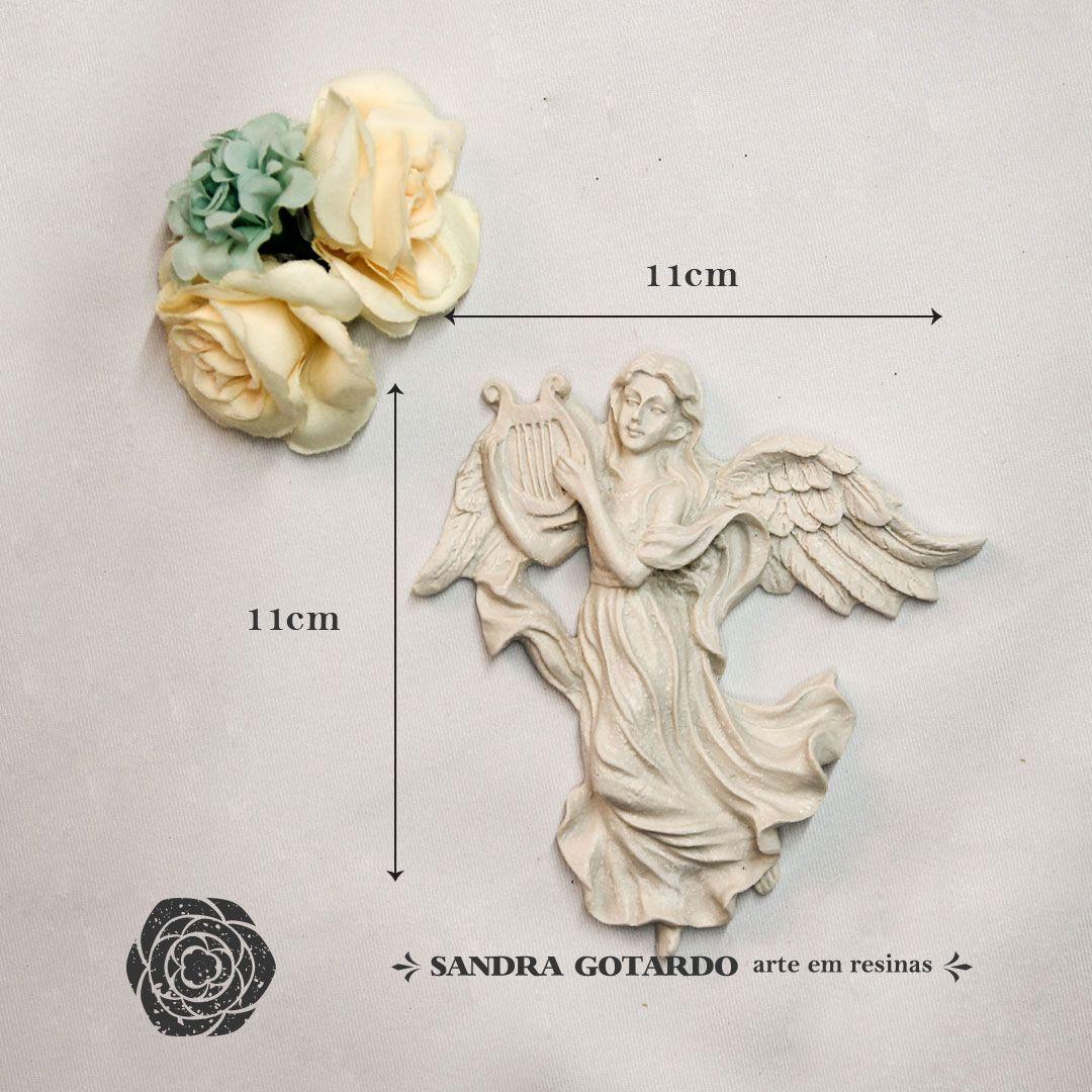 Aplique anjo com harpa  14x11x2 - resina AS 028