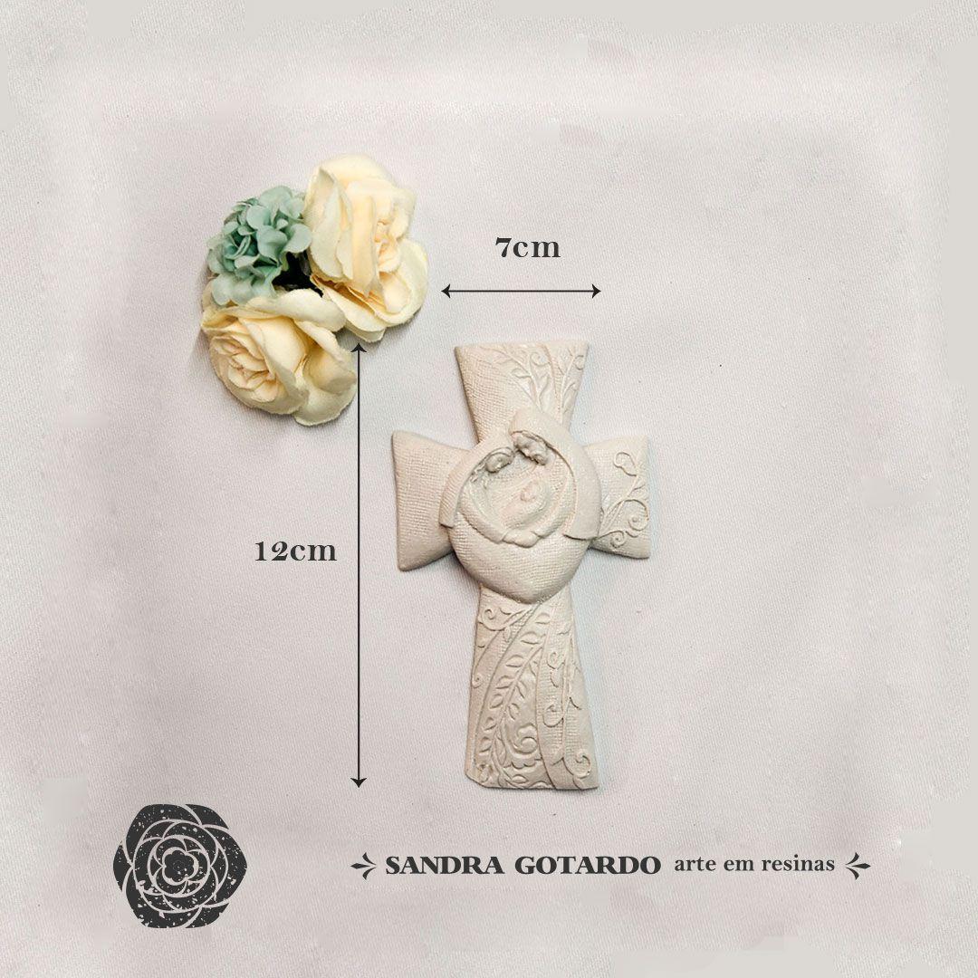 Aplique cruz família de Jesus 12x7x2 - resina  ES 044
