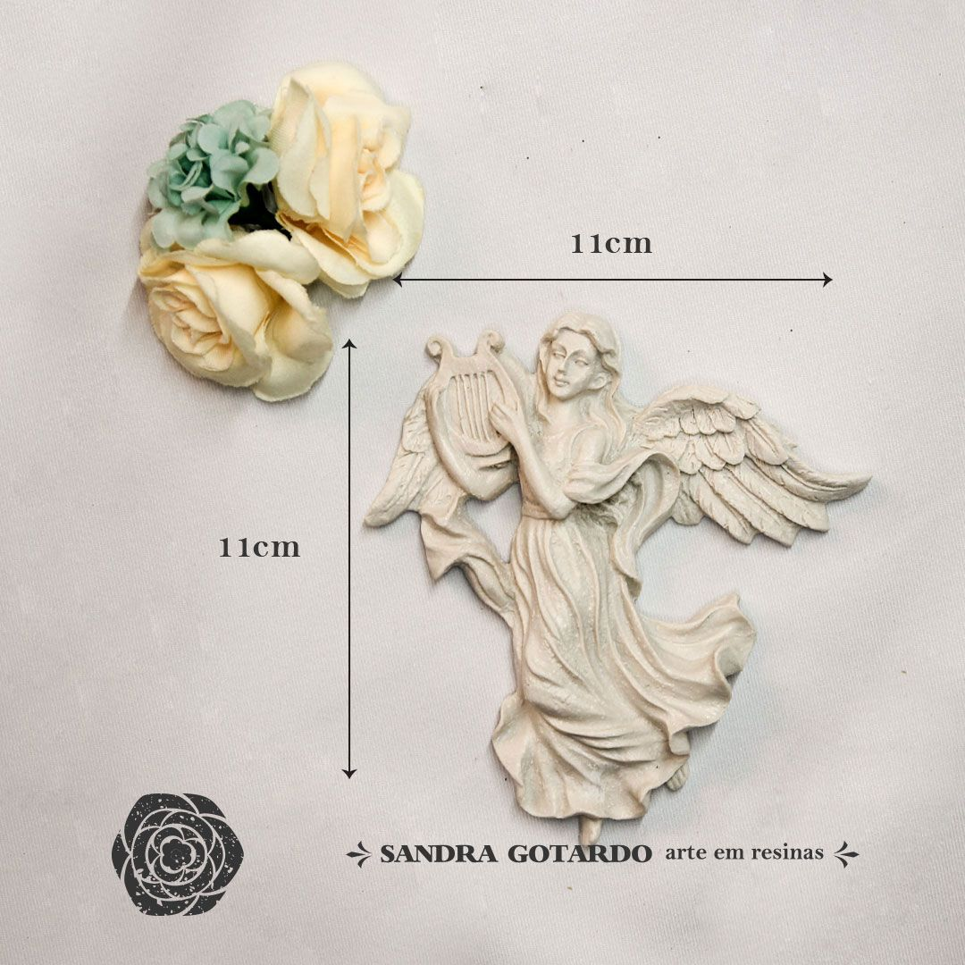 Aplique Resina  Anjo com harpa  - AS028 - Sandra Gotardo