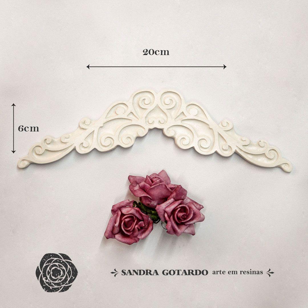 Aplique Resina Aplique arabesco Delicado 6x20x1 - resina  ARA 019 - Sandra Gotardo
