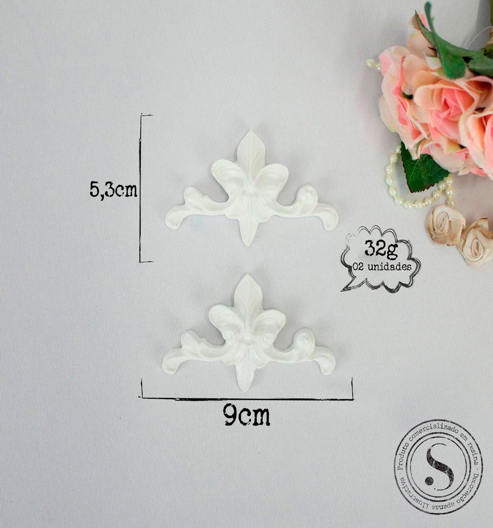 Aplique Resina Aplique Arabescos cantoneira ( 2UN) 5,3x9x1-resina ARA 011 - Sandra Gotardo