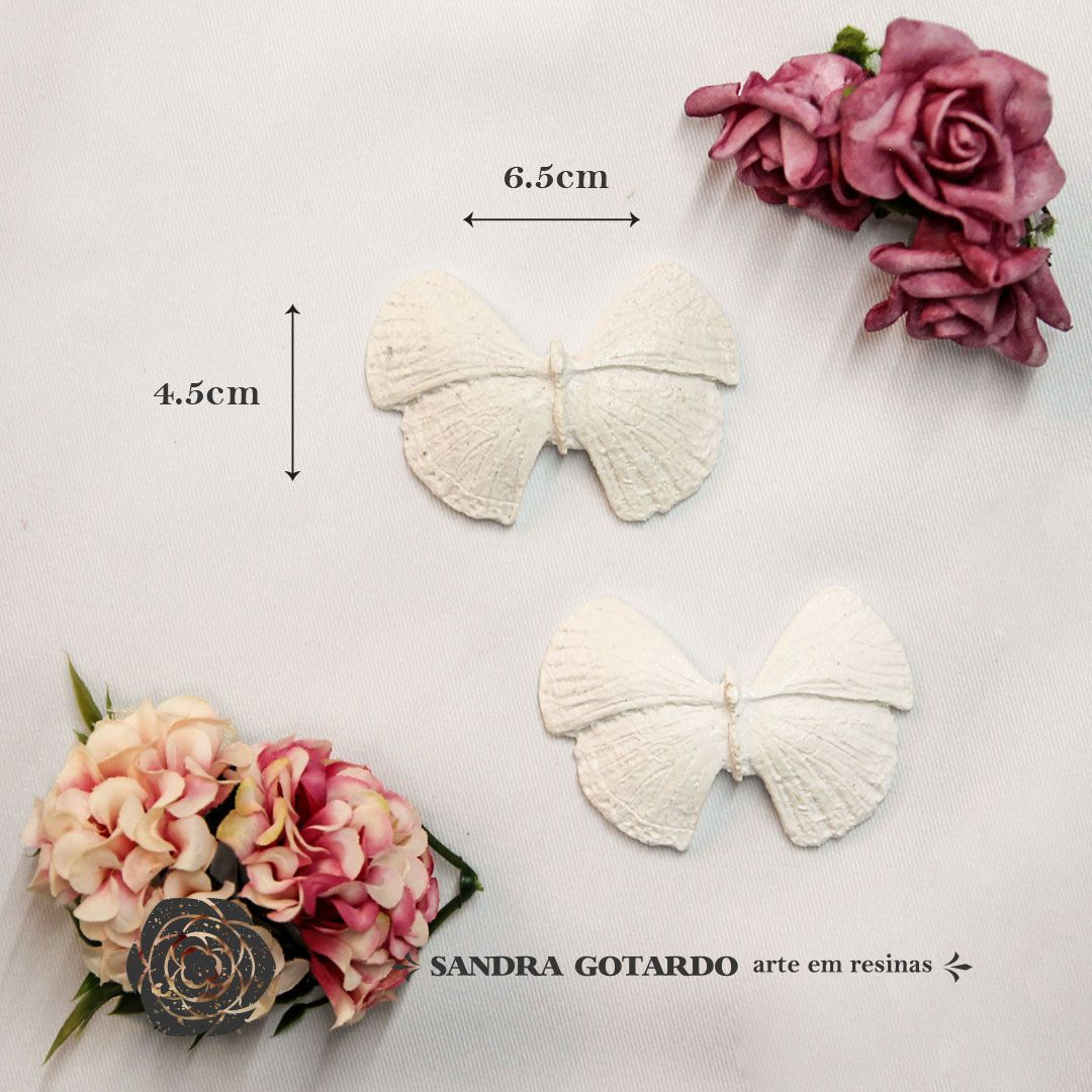 Aplique Resina Aplique Borboleta asa aberta ( 2 und) 4,5x6x1  - resina AI 038 - Sandra Gotardo