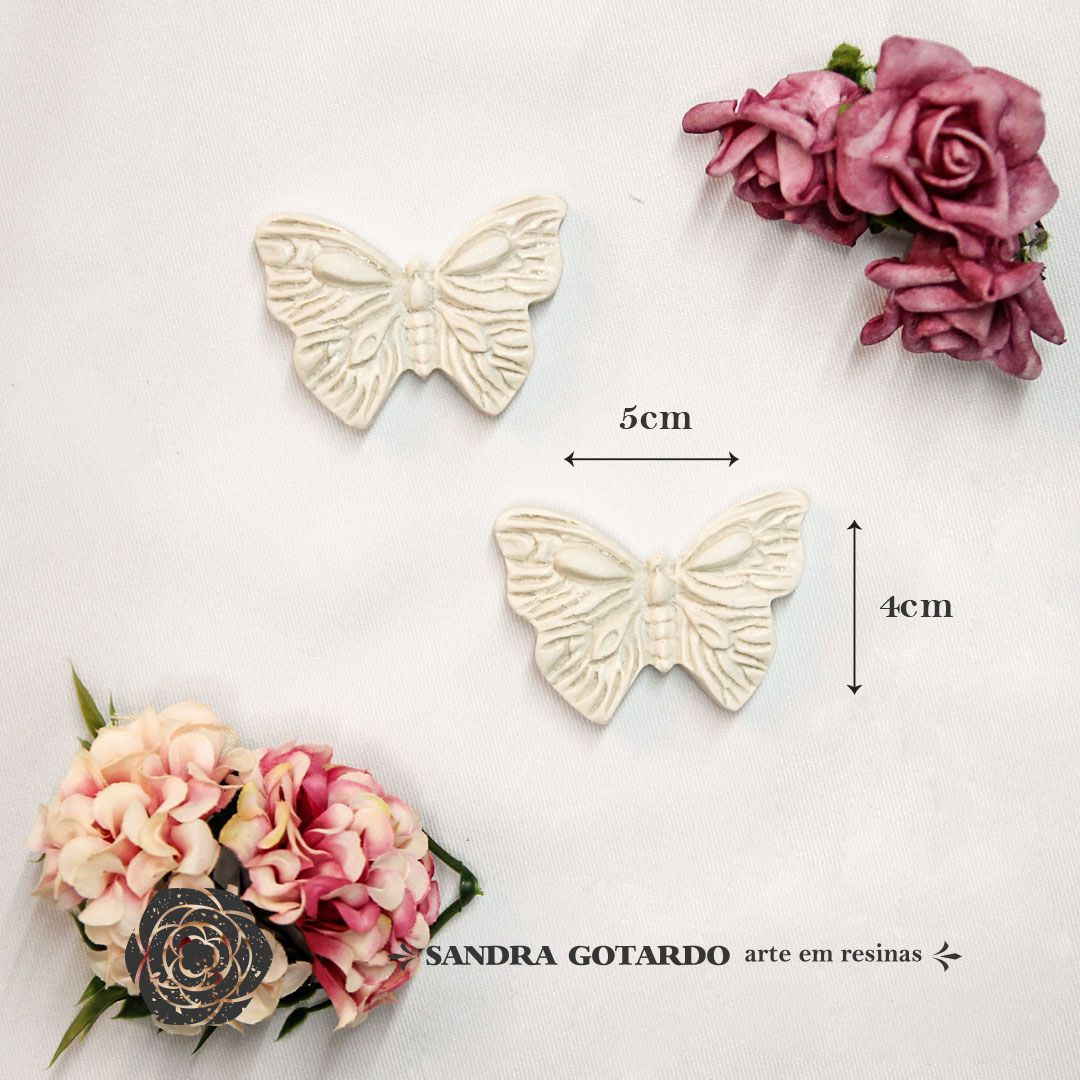 Aplique Resina Aplique Borboleta asa aberta ( 2 und) 4x5x1  - resina AI 039 - Sandra Gotardo