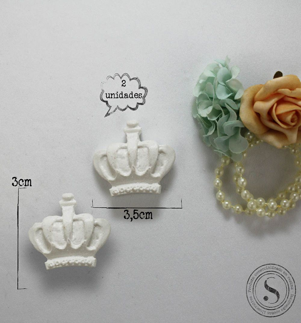 Aplique Resina Aplique Duas Coroas Pequenas 3x3,5 SG Resinas Ref CO008 - Sandra Gotardo