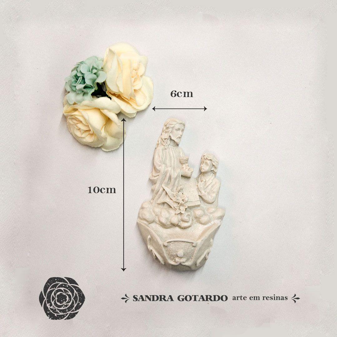 Aplique Resina Jesus agua Batismal -  ES043 - Sandra Gotardo