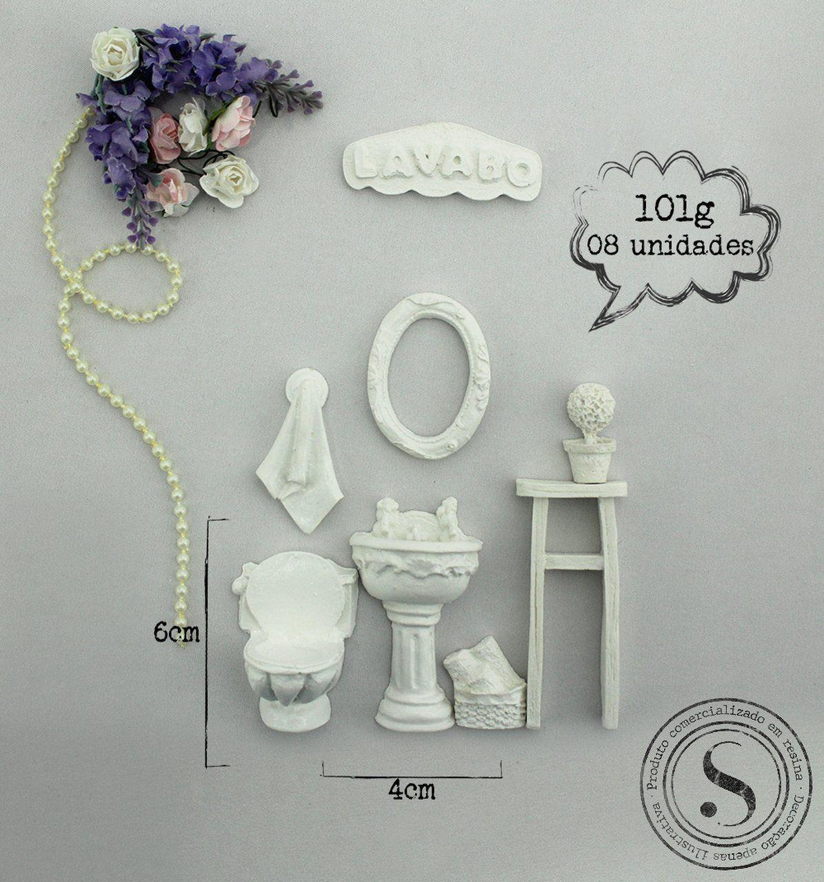 Aplique Resina Kit Banheiro Lavabo  - KH002 - Sandra Gotardo