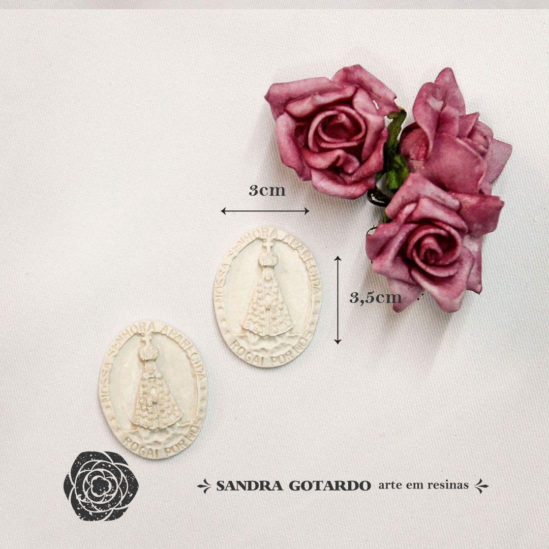 Aplique Resina  Medalha Nossa Senhora Aparecida ( 2und)  -  ES049 - Sandra Gotardo