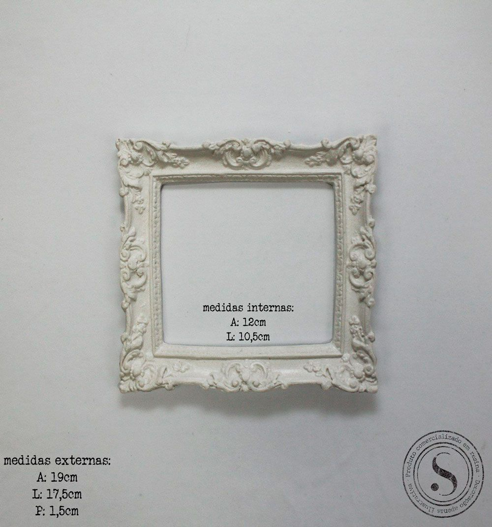 Aplique Resina Moldura Quadrada - MQP 009 - Sandra Gotardo